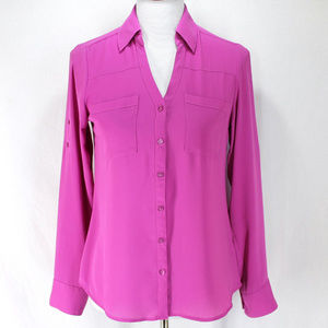 Express Portpfino Shirt XS Purple Roll Tab Sleeve